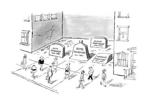 Tombstones fill a gap in a block where a large building once was; the empt… - New Yorker Cartoon Premium Giclee Print