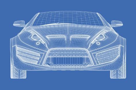 Sports car blueprint for concept car lminas por misha en allposters sports car blueprint for concept car lmina malvernweather Choice Image