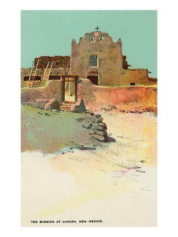 Mission at Laguna Pueblo, New Mexico Art Print
