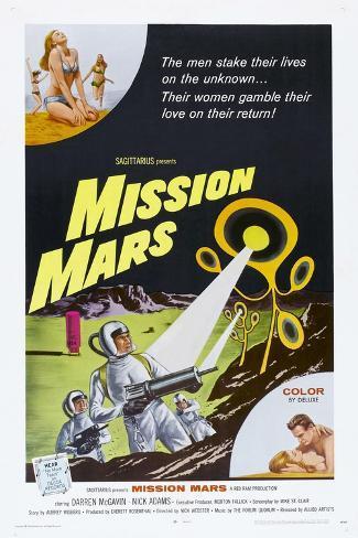 MISSION MARS, US poster, bottom right: Nick Adams, Heather Hewitt, 1968 Konstprint