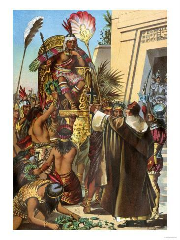 Missionary Father Valverde Addresses the Inca King Atahualpa during the Conquest of Peru, c.1532 Giclee Print