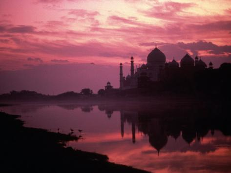 Silhouette of Taj Mahal, Agra, India Photographic Print