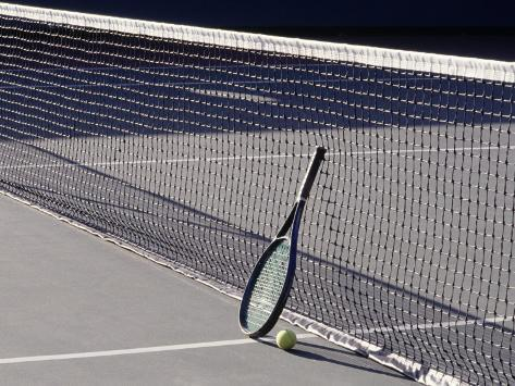 Tennis Racquet Against Net with Ball Photographic Print
