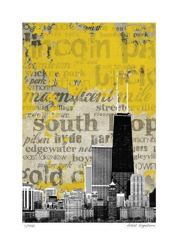 Chicago Neighborhoods Impressão giclée