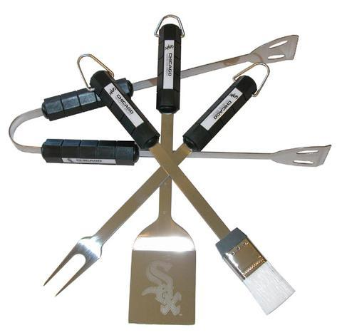 MLB Chicago White Sox Four Piece Stainless Steel BBQ Set BBQ Grill Set
