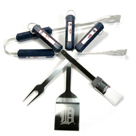 MLB Detroit Tigers Four Piece Stainless Steel BBQ Set BBQ Grill Set