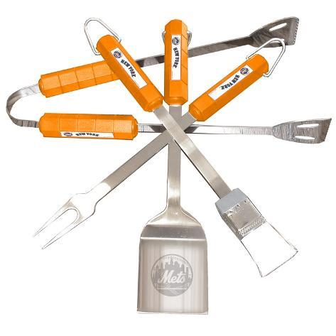 MLB New York Mets Four Piece Stainless Steel BBQ Set BBQ Grill Set