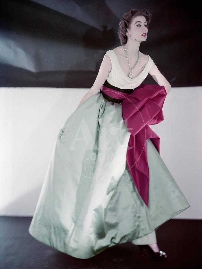 Model Suzy Parker Wearing Fath\'s Evening Dress Made in Three ...