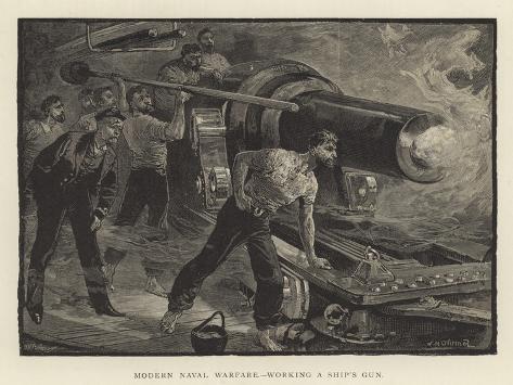 Modern Naval Warfare, Working a Ship's Gun Giclee Print