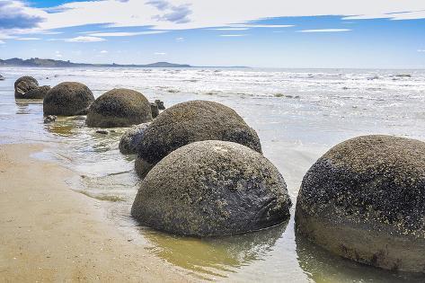 Moeraki Boulders New Zealand Stretched Canvas Print
