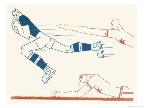 Dynamic Rugby Player Surges Forward Giclee Print