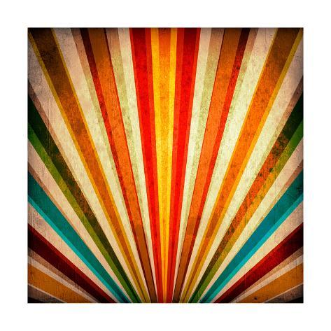 Multicolor Sunbeams Grunge Background. A Vintage Poster Stampa giclée premium