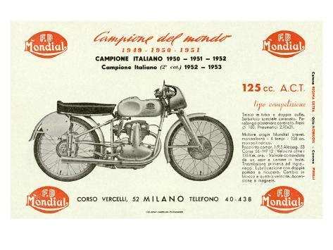 Mondial 125 Motorcycle Giclee Print