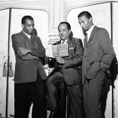 Langston Hughes, Chatley Herrigan, Melvin Stewart - 1957 Photographic Print