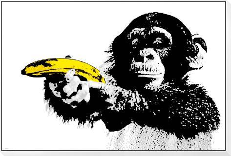 MONKEY - Banana Framed Print Mount