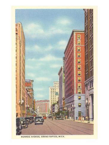 Monroe Avenue, Grand Rapids, Michigan Art Print