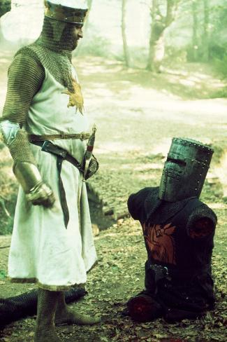 Monty Python and the Holy Grail, from Left: Graham Chapman as King Arthur, John Cleese, 1975 Photo