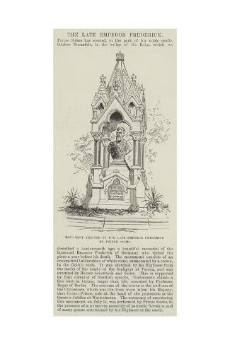 Monument Erected to the Late Emperor Frederick by Prince Solms Giclee Print