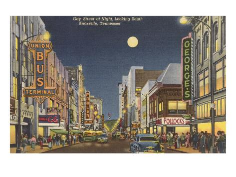 Moon over Gay Street, Knoxville, Tennessee Art Print
