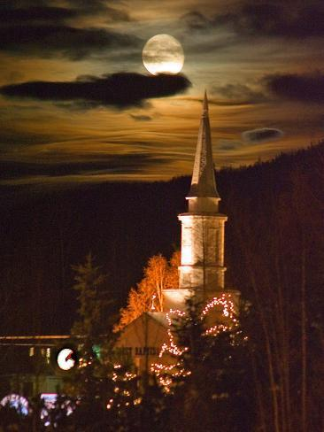 Moon Rises over a Church in Eagle River, Alaska Photographic Print