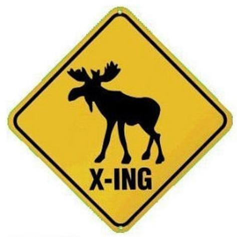 Moose Crossing X-ing Tin Sign