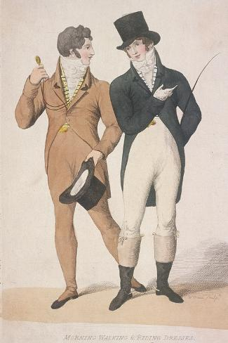 Morning Walking and Riding Dresses, C1810 Stampa giclée