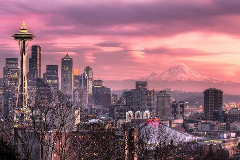 December Sunset in Seattle Photographic Print