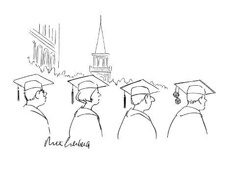 a pair of dice hang from a college graduate's mortarboard - New Yorker Cartoon Premium-giclée-vedos