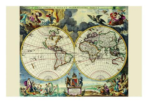 Stereographic Map of the World Art Print