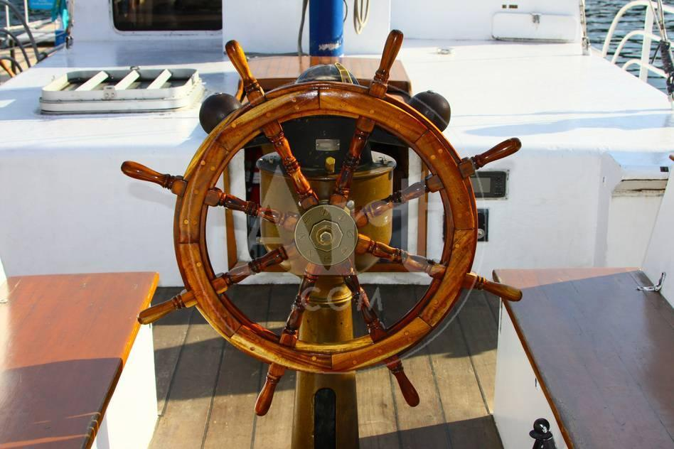Ship Steering Wheel And Navigation Compass Photographic Print By