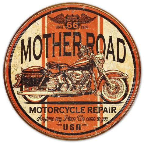 Mother Road Motorcycle Repair Tin Sign