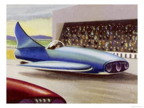 Motor Racing with Atom-Powered Vehicles Giclee Print