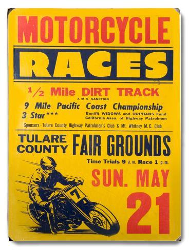Motorcycle Races - Tulare County Wood Sign