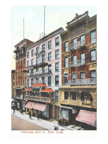 Mott Street, Chinatown, New York City Stretched Canvas Print
