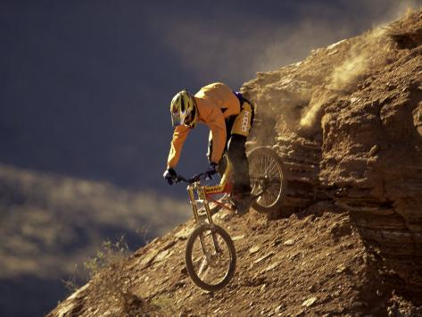 Mountain Biking Downhill Photographic Print