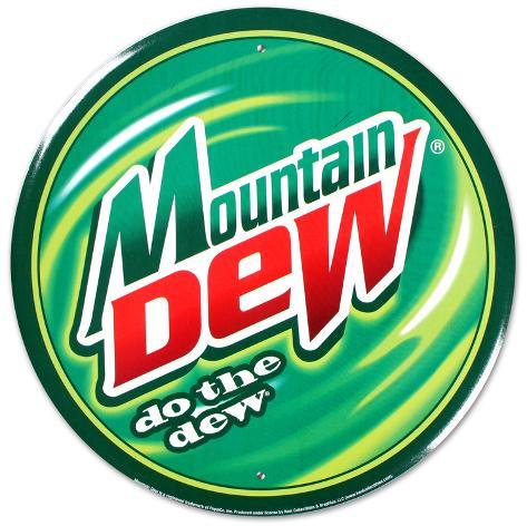 Mountain Dew Soda Round Tin Sign