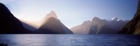 Mountain Range at Water's Edge, Milford Sound, Fiordland National Park, South Island, New Zealand Photographic Print