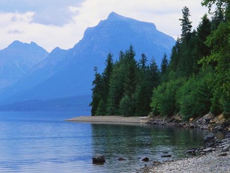 Mountains and Lake McDonald Shoreline Photographic Print