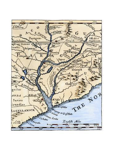 Mouth of the Rio De La Plata in South America, in a Map of 1698 Stretched Canvas Print