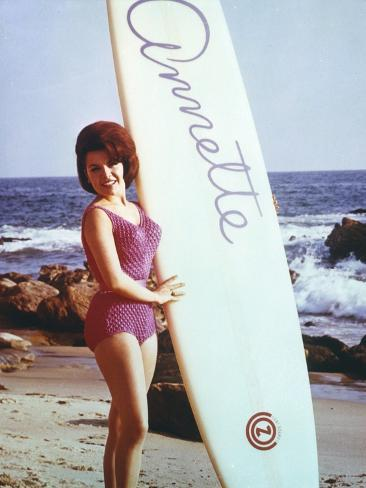 Annette Funicello Posed in Bikini with Surfing Board Photo