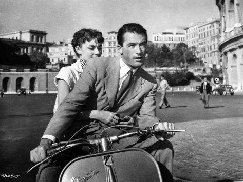 Audrey Hepburn and Gregory Peck in Rome Riding a Motorcycle Photo