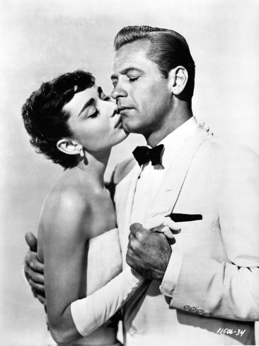 Audrey Hepburn and William Holden Sabrian Kissing Photo