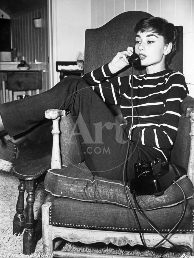 Audrey Hepburn Striped Attire on the Phone Fotografía por Movie Star ...