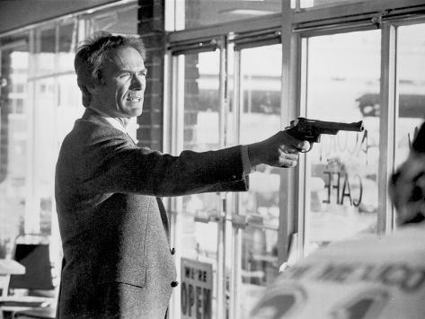 Clint Eastwood Pointing Pistol in Tuxedo Photo