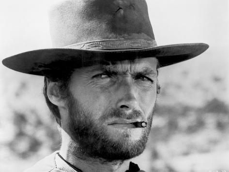 clint eastwood portrait in classic with cigarette in his mouth photo