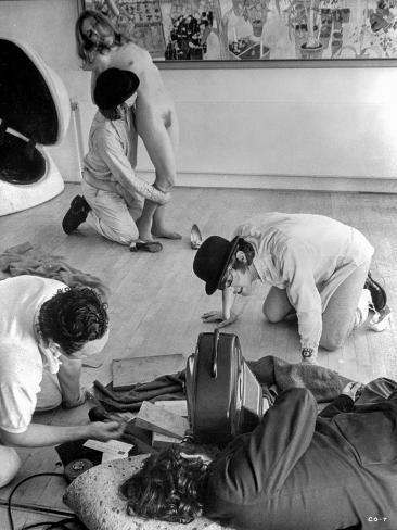 Clockwork Orange Behind the Scenes - Three Men Harassing Naked Woman Photo