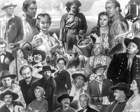 Collage of characters in How the West Was Won. Photo