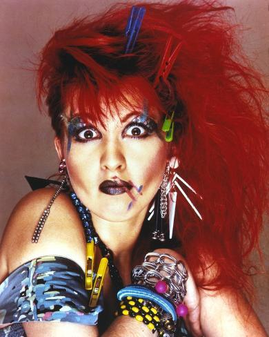 Cyndi Lauper Portrait In Red Hair And Blue Eye Lashes