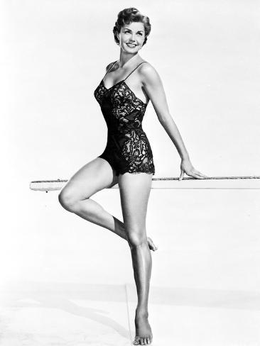 Esther Williams smiling in Black Lingerie Photo