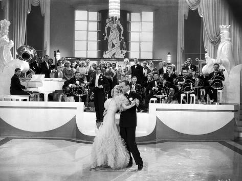 Fred Astaire and Ginger Rogers Dancing with Musical Orchestra Behind Them Photo